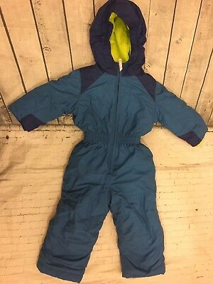 Lands' End Toddler One Piece Blue Full Zip Hooded Snow Suit - Size 2T