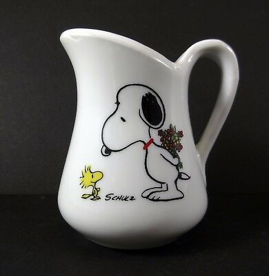 Vintage 1965 Peanuts Snoopy Woodstock Flower Bouquet Ceramic Creamer Pitcher