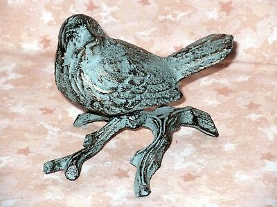 NEW~Blue Bird on Branch Cast Iron Figurine Cottage Nature Decor Gold Accents