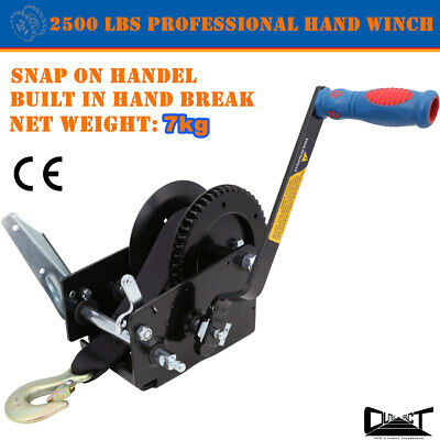PROFESSIONAL HAND WINCH 2500 LBS HAND BREAK SNAP ON HANDEL TAIWAN 8m Strap Sale