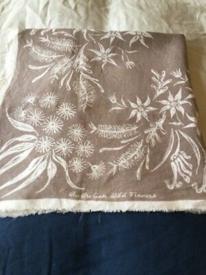 Vintage Linen Tablecloth Decorated With Australian Wild Flowers
