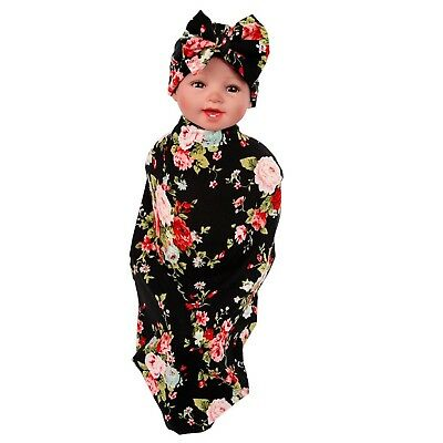Newborn Floral Swaddle BQUBO Receiving Blanket with Hats Sleepsack Toddle... New