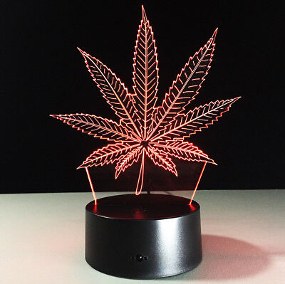 Maple Leaves 3D LED Visual Illusion Lamp Acrylic Night Light 7 Color Home Gifts