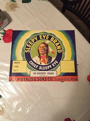 *Original* SLEEPY EYE Indian CHIEF Minnesota 1930's Egg Crate Label NOT A COPY!!