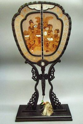 Chinese Exquisite Sandalwood Hand-Carved Ladies /Official Daughter Pattern Fan