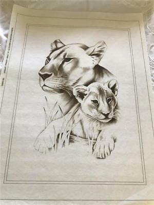 Hobby Tex - Fabric Painting  NEW CONDITION !!  With Lion & Cub  x 1  Big Size