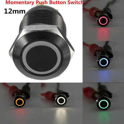 Black 12v 4 Pin 12mm Led Light Metal Push Button Momentary Switch Waterproof New