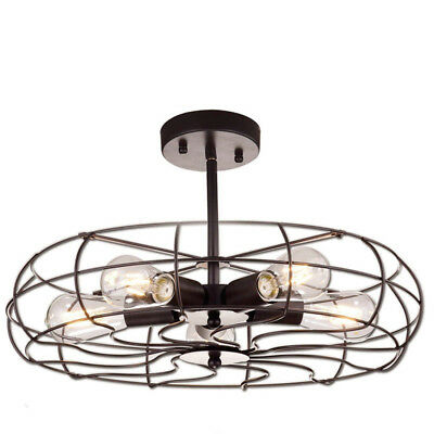 Ladiqi Lighting Oil Rubbed Black Vintage Barn Metal Ceiling Chandelier 5 Light
