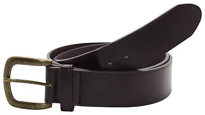 True Face Mens Real Leather Single Pin Metal Buckle Big Sizes Casual Plain Belt