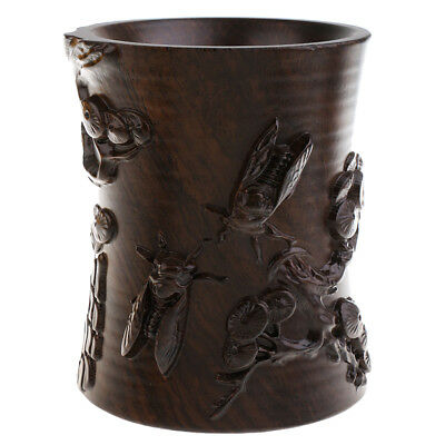 Exquisite Hand-carved Brush Pot Container Stationery Pen Brush Storage