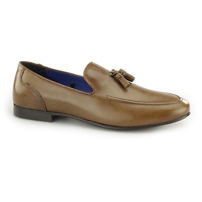 5abcb0dab8e Red Tape AMPTHILL Mens Leather Slip On Casual Office Comfy Tassel Loafers  Tan