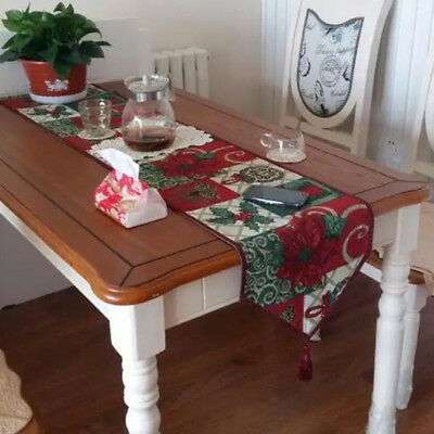 Xmas Table Runner Placemat Flower Cotton Cloth Home Christmas Festival Decor New