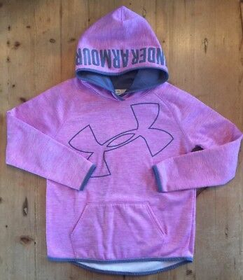 Girl's Under Armour Hoodie Sweatshirt Purple Gray Youth Large YLG MINT!