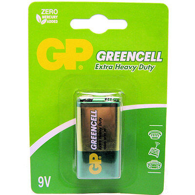 1 x GP Greencell 9V PP3 MN1604 6LR61 Zinc Battery