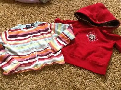 Lot Baby Gap Girls Xs Size 4 5 Hoodie And Sweater Sparkly Striped Winter