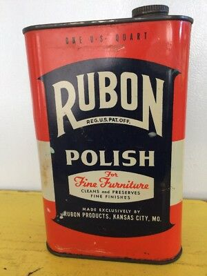 Vintage 1 Qt. Metal Can RUBON POLISH  Rubon Products Kansas City Missouri