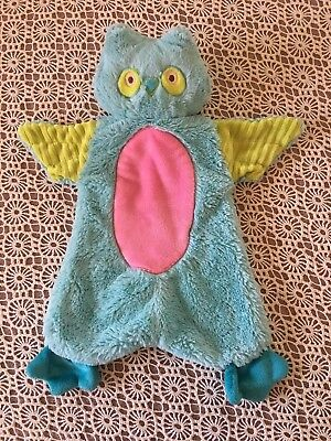 Douglas Baby Aqua Pink Green Owl Security Blanket Plush Polyester Lovey