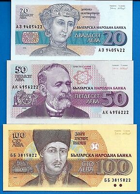 Bulgaria P-100 P-101 P-102 20,50,100 Leva Uncirculated Banknotes Set # 6