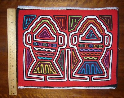 """TWO FISH MOLA from PANAMA, Vintage Hand Appliqued Native Textile Art, 11""""x14"""""""