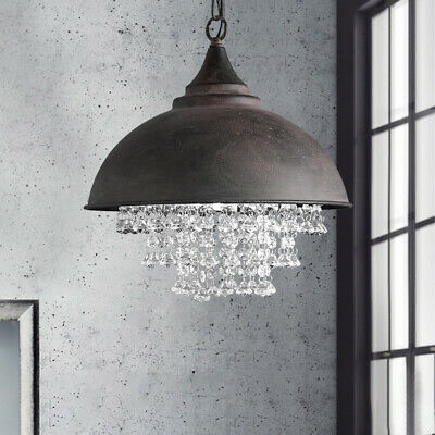 Industrial Crystal Pendant Light Loft Vintage Chandelier Ceiling Rustic Lamp
