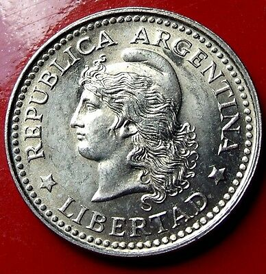 Brilliant Uncirculated 1957 Argentina 5 Centavos. Very nice coin with HOLDER INC