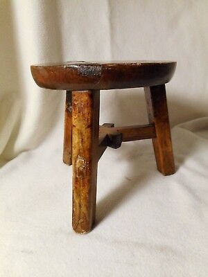 Antique Stool-Milking Stool-Mortise & Tenon Stool-VERY OLD & PRIMITIVE