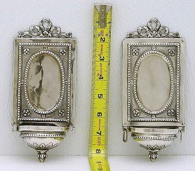 Set of 2 Venice Italy Sterling Silver Icon Sconce Lamp Sanctuary Marked c1800