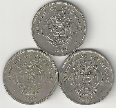 3 DIFFERENT 1 RUPEE COINS from SEYCHELLES DATING 1982, 1992 & 1997