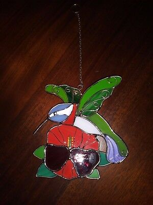 Hummingbird Flower Suncatcher Leaded Stained Glass Red Green Blue Ready to Hang