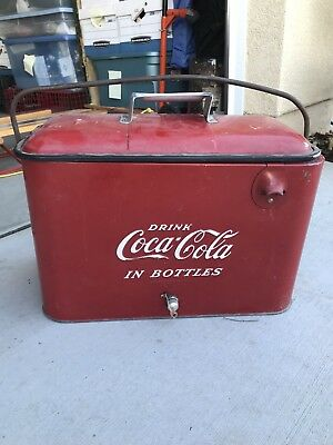 Vintage Original COCA COLA Metal COOLER w/ Bottle Opener