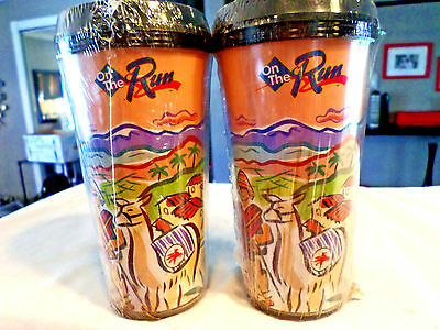 2 New Vintage MOBIL OIL PEGASUS TRAVEL MUG CUP coffee cup retired, mexico scene