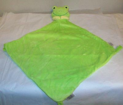 Burton & Burton Green Frog Security Blanket Lovey Spft Plush Velour 12 X 12