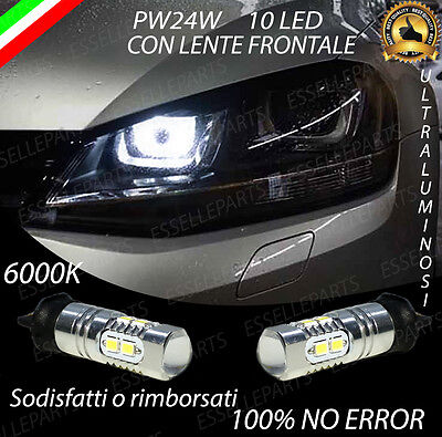 Coppia Luci Diurne Drl 10 Led Pw24W Canbus Volkswagen Golf 7 Vii 6000K No Error