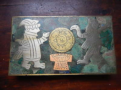 Vintage Made in Mexico Tobacco Box Brass, Silver ,copper & Turquoise