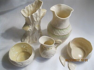 Belleek Mixed Lot: Two vases, creamer, Two sugars. Sixth mark