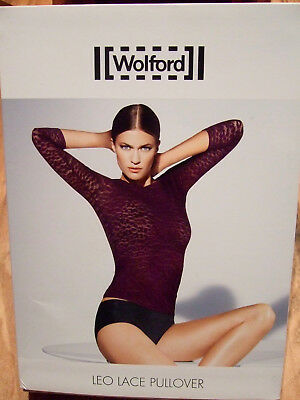 Wolford Leo Black Lace Top Pullover  - Leopard Print 59603 7005 - Small - Bnwt!