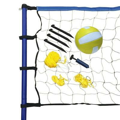Portable Volleyball Net System Steel Post Ball Pump Outdoor Recreational Play