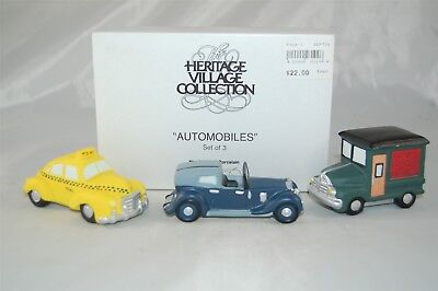 Department 56 Automobiles #59641 Set of 3 Taxi Delivery Truck Heritage Village