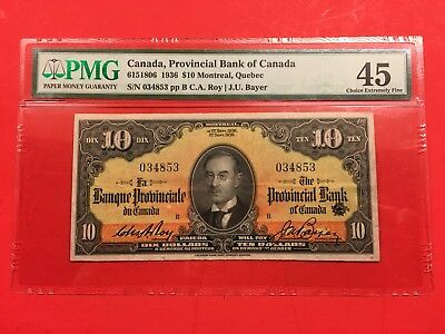 Bank of Canada Provincial Bank of Canada 1936 10 Dollar PMG 45 only 1 higher.