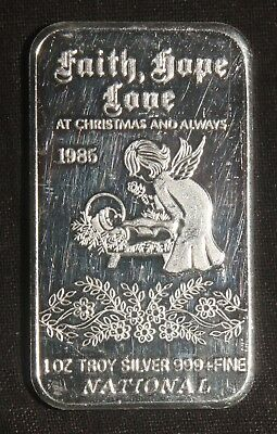 1985 Faith, Hope, Love At Christmas And Always 1 Oz .999 Silver Bar  Lot 230311