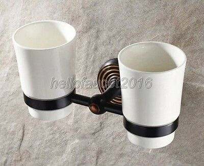 Oil Rubbed Brass Wall Mount Bathroom Toothbrush Holder Dual Ceramic Cup lj013-7