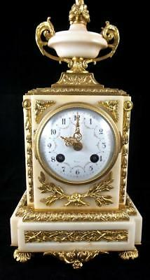 Stunning early 1900's French Gilt ormolu bronze & White Marble 8day Mantle Clock