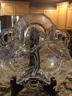 """Antique Etched Glass Divided Serving Tray, 8"""" Across, 3 Section Divided Plate,"""