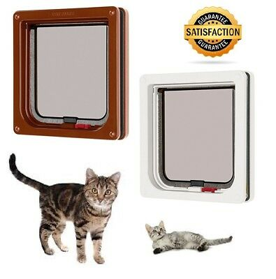 DOOR PETS cat flap pet door white brown Lockable 2 way lock Cat mate