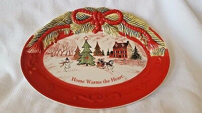 2010 Fitz And Floyd Sentiment Tray - Home Warms The Heart -Christmas Design -Nib
