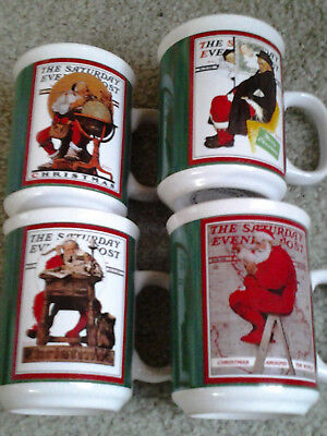 SATURDAY EVENING POST SET of 4 CERAMIC CHRISTMAS COVER DESIGN MUGS by WESTWOOD