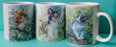 Starcrest Kittens in Flower Fields 3 Ceramic Cat Coffee Mugs NIB