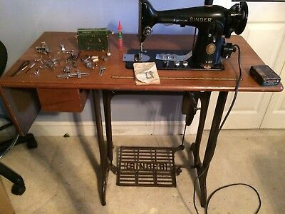 Vintage Singer Professional Sewing Machine # 1200-1 + Cabinet + Many Attachments