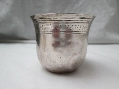 Rare Early 17/18th Century Continental French Silver Beaker Cup.