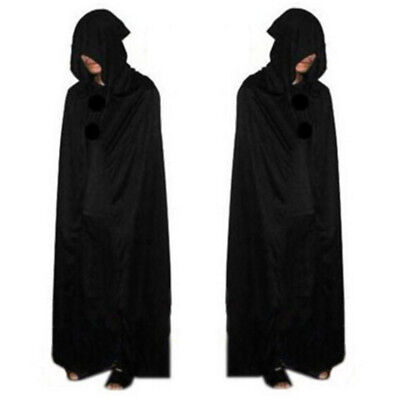 Hooded Robe Cloak Long Cape Party Halloween Vampire Cosplay Costume Prop Black